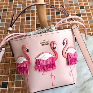 new Kate spades flamingo bucket bag